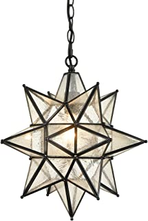 AXILAND Industrial Moravian Star Pendant Light with Seeded Glass Shade 15 Inches