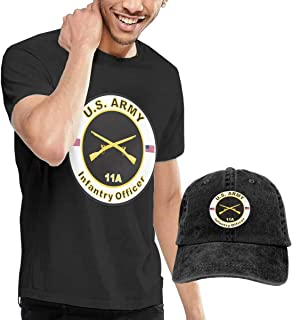 Army MOS 11A Infantry Officer Men's Comfortable Short Sleeve T-Shirts and Washed Baseball Cap