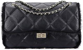 Solid Color Shoulder Bag Messenger Crossbody Bag Handbag Large Capacity Metal Chain Soft Fur for Dating Women Girls (Shoul...