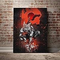ガロウワンパンマンアニメポスターキャンバス絵画壁画装飾リビングルーム書斎家装飾プリント/ 60x80cm(フレームなし)