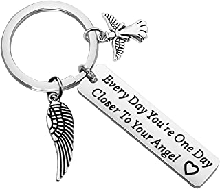 CHOORO Memorial Keychain Sympathy Gift Every Day You're One Day Closer to Your Angel Keychain