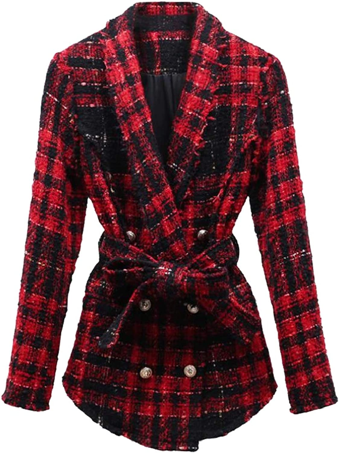 Womens Trade Explosion Models Women's Jacket Plaid Tweed with Pockets