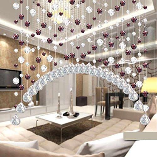 Igemy 1PCS Glas Kristall Perle Vorhang Luxus Wohnzimmer Schlafzimmer Fenster Tür Hochzeit Dekor (Kaffee)