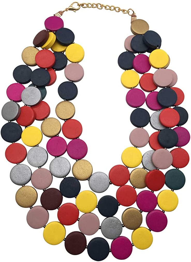 Multicolored Beaded Wood Bead Layered Necklace…