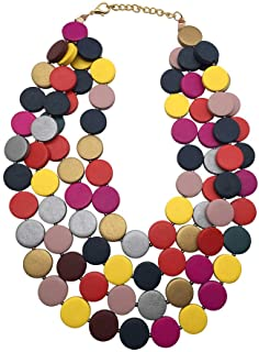 Halawly Multicolored Beaded Wood Bead Layered Necklace