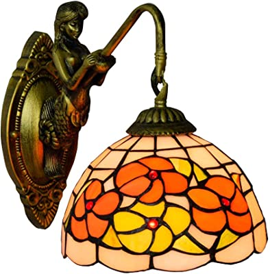 Aplique de estilo Tiffany, Aplique de jardín idílico, para apliques de pared para habitación de hotel restaurante occidental E27 * 1: Amazon.es: Iluminación