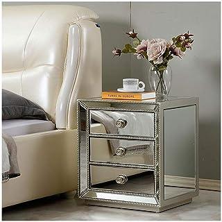 Miroir En Verre Table de Chevet Avec 3 Tiroirs Miroir Table D'appoint Coiffeuse MDF Moderne Bordures Table Basse Armoire d...