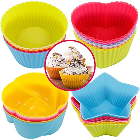 Silicone Doughnuts Mold Baking Cup Cake Tool Set Muffin Chocolate Liner 36 Pcs