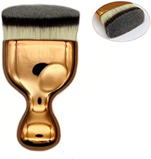 Flat Kabuki Face Body brush Travel Foundation Brush Perfect For Blending Liquid Foundation, Cream or Flawless Powder Cosmetics, Portable Face Makeup Brush (Gold)