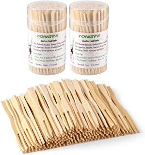 Bamboo Forks 3.5 Inch, Mini Food Picks for Party, Banquet, Buffet, Catering, and Daily Life. Two Prongs - Blunt End Toothpicks for Appetizer, Cocktail, Fruit, Pastry, Dessert. 220 PCS (2 packs of 110)