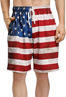 BesserBay Men's 4th of July Shorts American Flag Board Shorts with Pocket