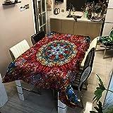 Mantel de Cuadros geométricos, Mantel Impermeable Estampado Estilo tailandés Birmano, Apto para Cocina y Comedor M-4 140x200cm