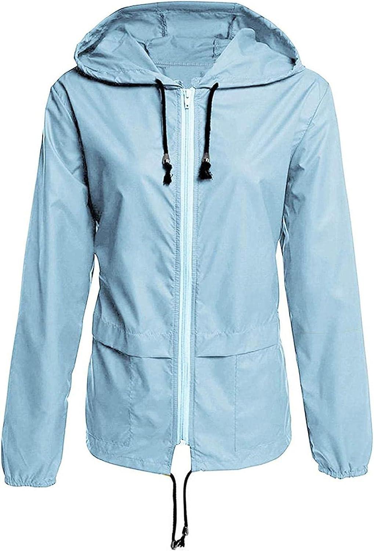 Plus Size Raincoat Women Lightweight Waterproof Rain Jacket Packable Outdoor Hooded Windbreaker Sweatshirts