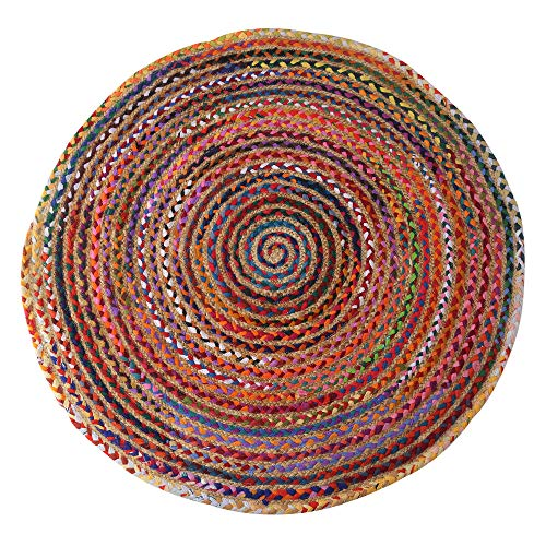 RAJRANG BRINGING RAJASTHAN TO YOU Jute Chindi Rug - Handgewebter runder mehrfarbiger Flickenteppich aus 100% Baumwolle Chindi Mat Boho Recycled for Home Ddecor - 244 cm