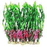 Hileyu 10 Piezas Plantas Artificiales de Acuario Planta Artificial Decoración Pecera Plantas de Acuario Algas Marinas Verdes,Planta de Simulación Viva Acuario Paisaje