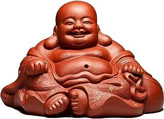 Weq Monk Statue Small Buddha Statue Tea pet Decoration Purple Sand Tea pet Sculpture ingots Laughing Buddha Maitreya Buddha (Color : RED, Size : 6.87.610.3CM)