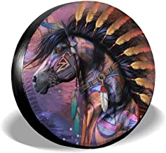SISHANQE Native American Wolf and Horse Spare Tire Covers Potable Sun Wheel Cover Weatherproof for Jeep Trailer RV SUV Truck Camper Travel Accessories 14 15 16 17Inch