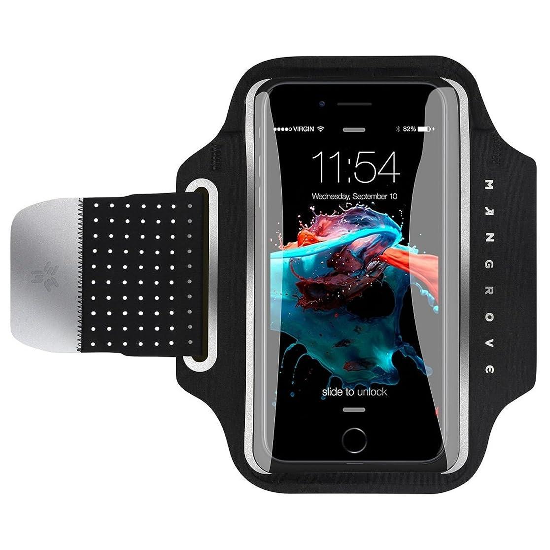 現代平和的統治可能ランニング アームバンド スポーツ アーム バンド 通気性抜群 小物収納 防水防汗 MANGROVE スマホ ケース 薄型 軽量 縫い目なし 調節可能 男女共用 夜間反射材料 iPhone X/8/7/6s/6 Plus, Xperia, Galaxy, HUAWEI, AQUOS, Arrows, Android 等6インチ以下全機種対応 (6'', ブラック)