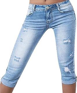 09a2b7faa48 Mujeres Jeans Ajustados Delgados Siete Cuartos Señoras Color Sólido  Pantalones Vaqueros Azules Cintura Media Agujero Quebrado