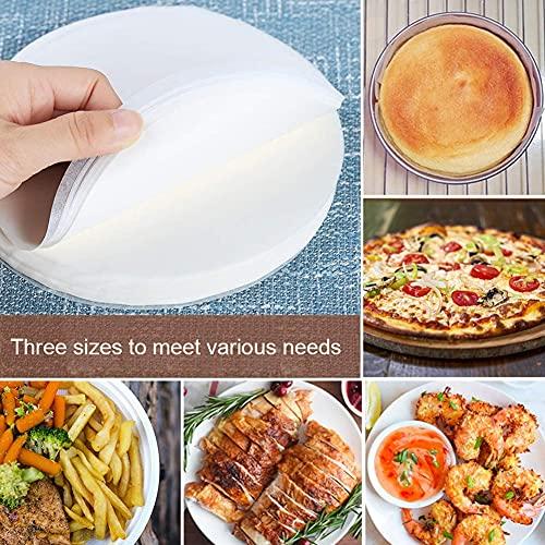 Carta da forno, 150 pezzi, rotonde, antiaderenti, pergamene rotonde, per cottura torte, torte, tostapane, forno a microonde (15 cm/24 cm/30 cm)