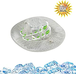 Sunscreen Cooling Hat, Arctic Summer Wide Brim Hat Outdoor Sun Protection Cooling Air Conditioning Cap for Women Men [Silver]