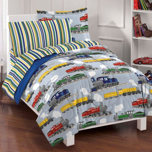 Dream Factory Trains Ultra Soft Microfiber Boys Comforter Set, Blue, Full