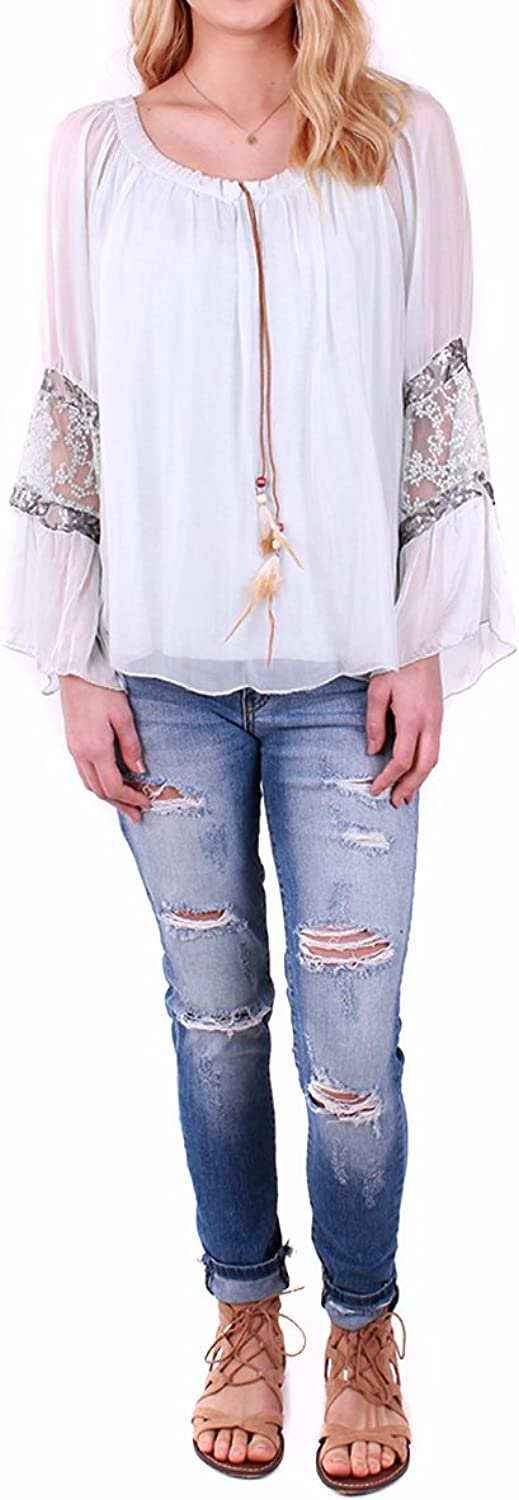 Made In  Peasant Style Silk Boho Blouse with Long Sheer Sleeves and Feather Drawstring Tie Taupe