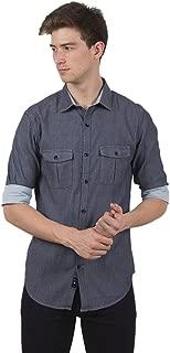 TED HARBOR Solid Denim Blue Shirt