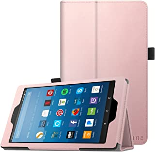 Fintie Folio Case for All-New Amazon Fire HD 8 Tablet (Compatible with 7th and 8th Generation Tablets, 2017 and 2018 Releases) - Slim Fit Premium Vegan Leather Standing Protective Cover, Rose Gold