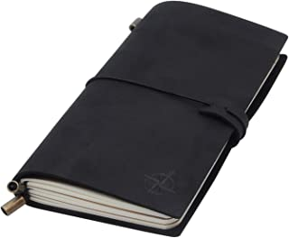 Black Leather Travel Journal - Travelers Notebook, Refillable   Perfect for Writing, Poetry, Log Book, Travellers, a Diary. Standard Size   Blank Inserts   8.5