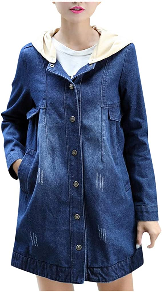 Forwelly Women's Winter Plus Size Denim Overcoat Button Hooded Trench Coat with Pocket Ladies Cute Long Jacket