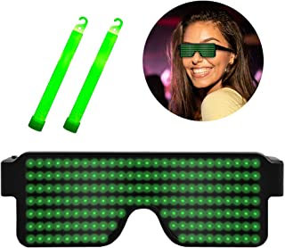 Suruid Dynamic LED Glowing Glasses USB Rechargeable LED Light Up Glasses with Flashing Neon, 8 Patterns LED Luminous Eyeglasses for Parties, Nightclub, Halloween, Concerts-Green ( with 2 Light Stick)