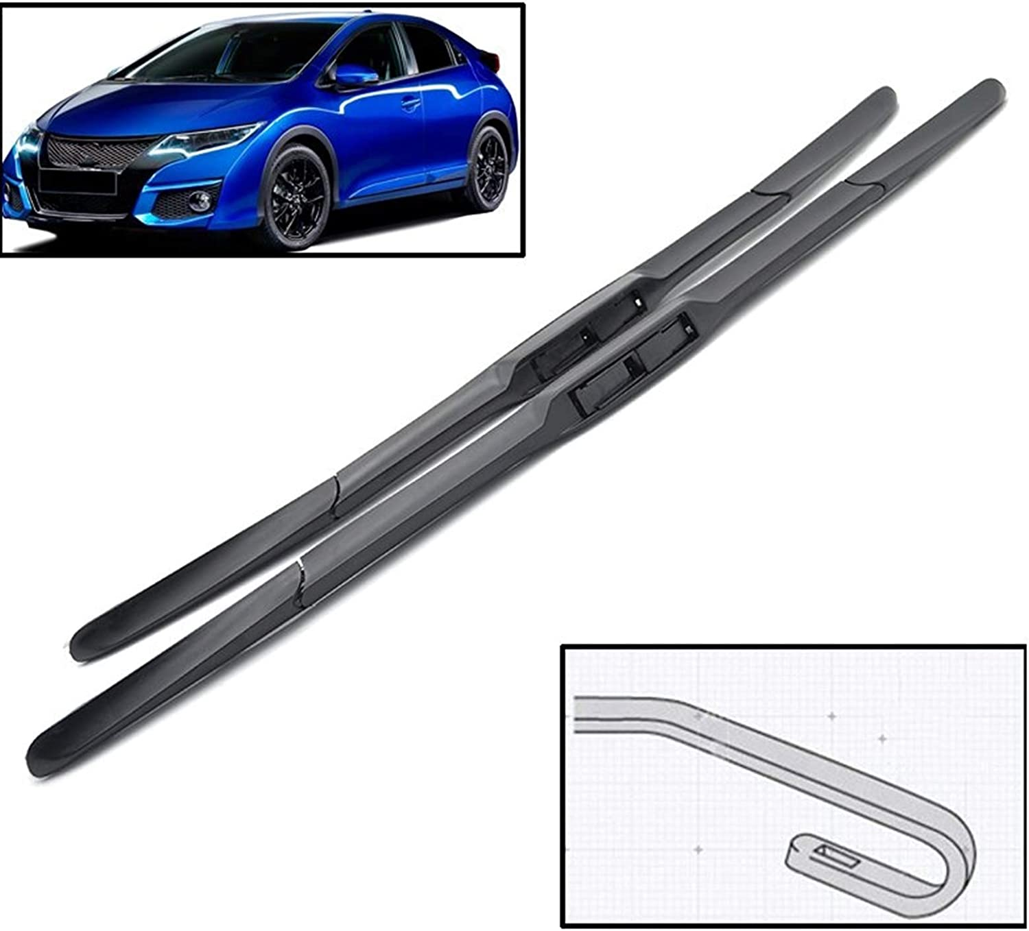 Wiper Blades Front Hybrid for Honda 4 years warranty 9 Civic Challenge the lowest price of Japan ☆ H