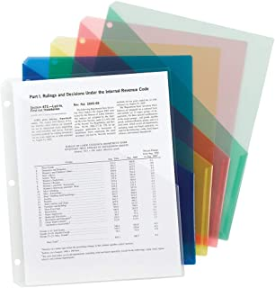 Smead Organized Up Poly Translucent Slash File Jacket, Three-Hole Punched, Letter Size, Assorted Colors, 10 per Pack (85754)
