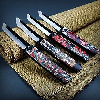 P.S 8 1/2  Katana Style Assisted Opening Pocket Knife Japanese Art 4 Piece Combo Kit