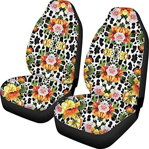 2 Piezas Estampado de Leopardo Estampado de Flores Fundas de Asiento de Coche Protector vehículo vehículos SUV Cubierta de Asientos Suaves