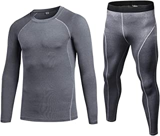 QCHENG Men's Thermal Underwear 2 pc Long Johns Set Base Layer Top and Bottom Quick-dry Sports Fitness Training Suit