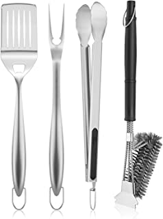SHINESTAR 3+1 Grill Accessories Set & Cleaning Tool Brush for Weber, Charbroil, Nexgrill, Traeger, Pitboss, BBQ Gift for Men, 18-inch Stainless Steel Spatula, Fork, Tongs