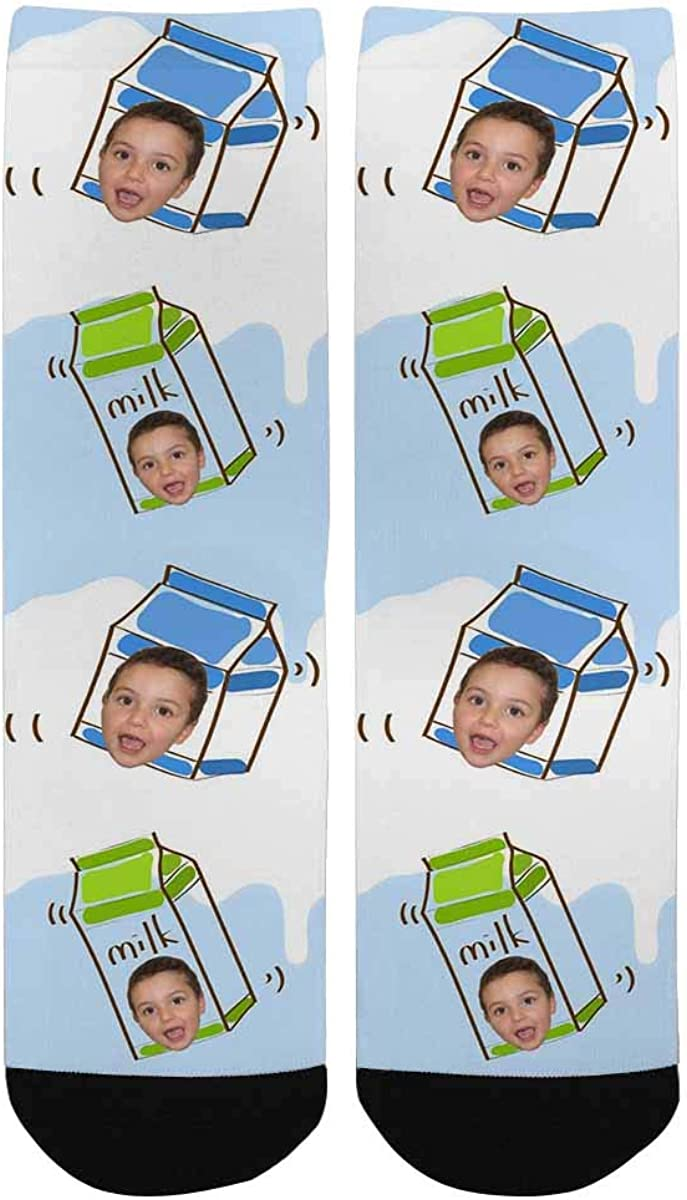 Custom Face Socks Personalize Your Photo Picture on Milk Crew Socks for Boys and Girls