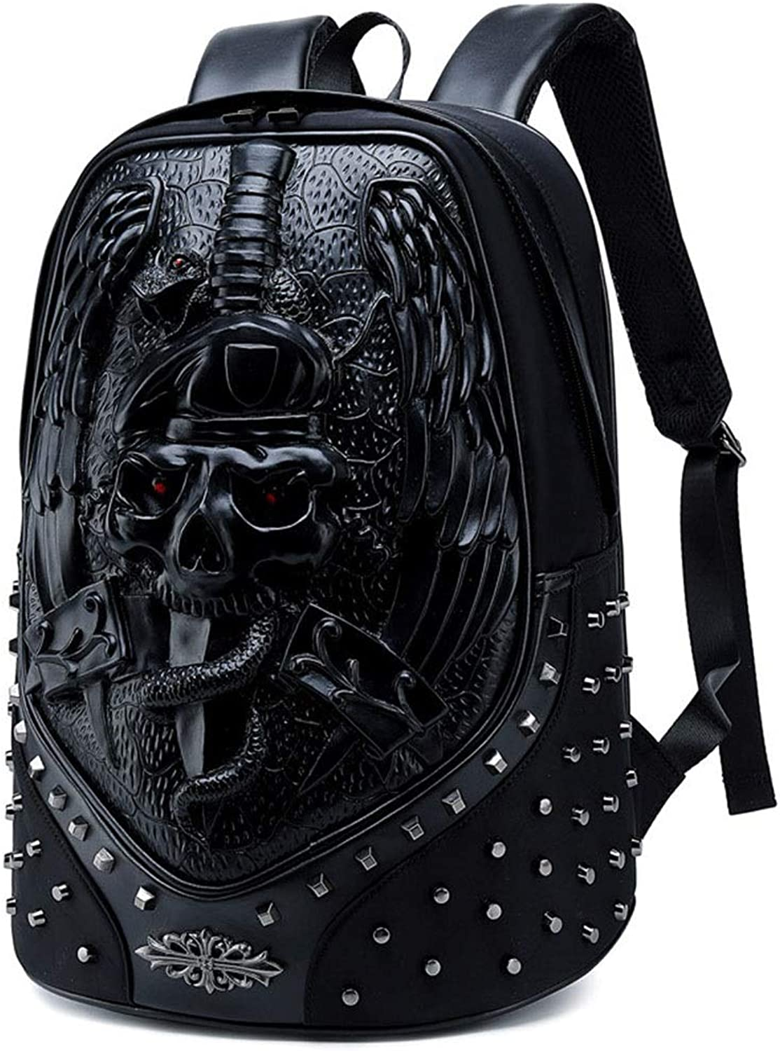 KUVV Durable Punk Backpack Male Personality 3D Animal Backpack Outdoor Cool Travel Computer Bag (Style   The Skeleton)