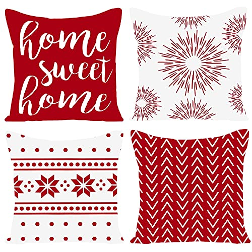 GUHOO Pack of 4 Home Sweet Home Decorative Throw Pillow Covers Modern Cotton Linen Pillow Cases Cushion for Couch Sofa Bed Car Living Room Home Decor (Red, 18x18 Inch,Set of 4)