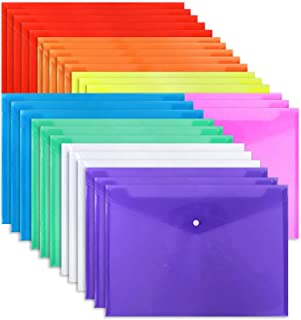 EOOUT 28pcs Poly Envelope Folder 8 Color Clear Plastic Envelope with Snap Button Closure A4 Size/Letter Size, for School O...