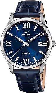 JAGUAR J883/2 Montre de la Collection ACAMAR avec boîtier de 40 mm Bracelet en Cuir Bleu foncé pour Homme