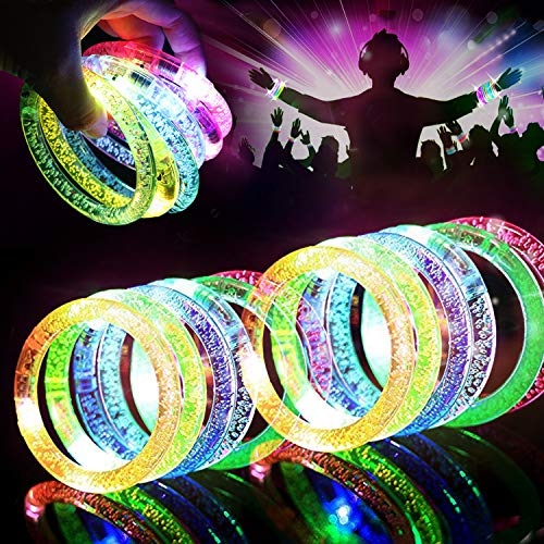 HDHF 40 Pack Glow Bracelets 6 Color LED Bracelets Light Up Bracelets Glow in The Dark Party Supplies, Led Rave Toys Glow Accessories for Christmas Parties, Wedding, Birthdays, Concert, Night Games