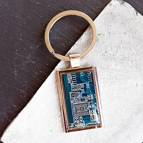 Recycled Shaltungsplatine (circuit board) Schlüsselanhänger, rechteckig Blau