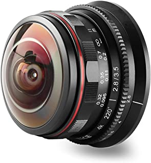 MEKE 3.5mm f2.8 220 Degree Manual Focus Circular Fisheye Lens Compatible with Olympus Panasonic Lumix M4/3 MFT Mount Cameras