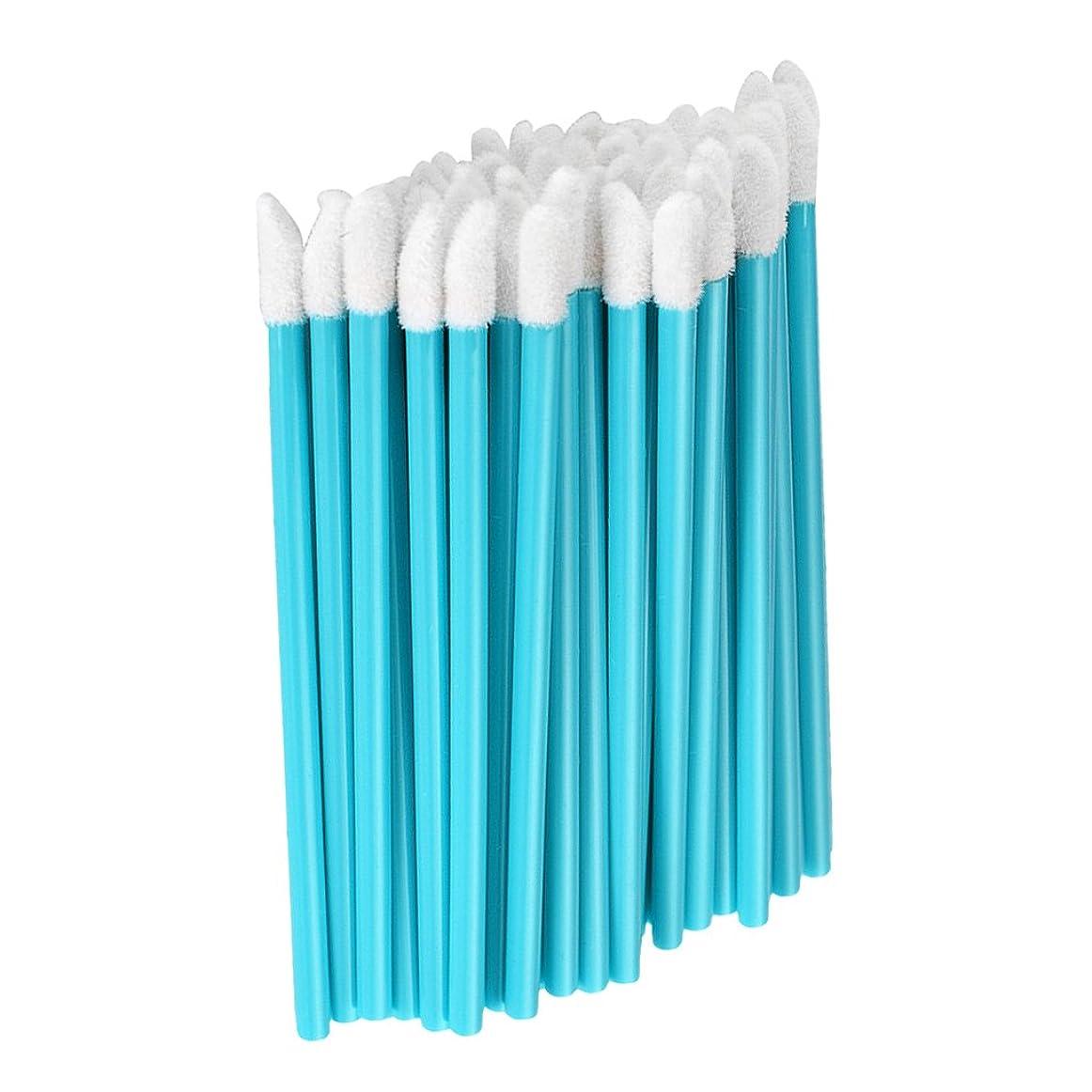 反毒余剰机Fenteer 約50本 メイクアップブラシ リップスティックブラシ 使い捨て リップブラシ リップワンド メイク道具 5色選べる  - 青