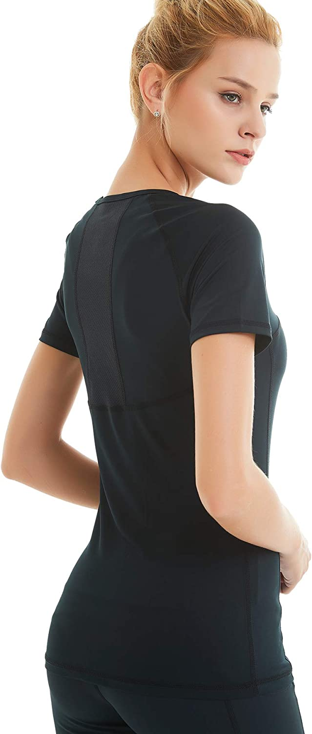 COOLOMG Womens Compression Short Sleeve T-Shirts Training Top Cool Dry Baselayer Sports Workout Athletic Shirt