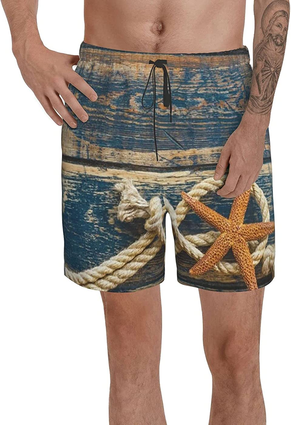count Retro Wooden Board Starfish Men's 3D Printed Funny Summer Quick Dry Swim Short Board Shorts with