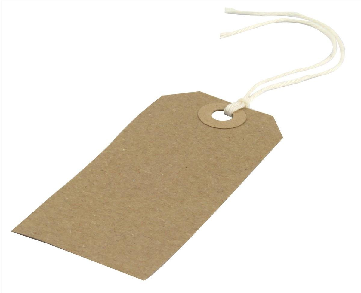 50 Strung Reinforced Tags 120mm x 60mm Brown Size 5 Luggage Labels Tagging